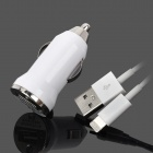 USB Data / Charging Lightning Cable + Car Charger Set for iPhone 5 - White (DC 12~24V)