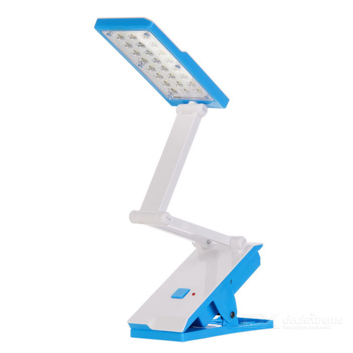 Rechargeable Clip-On 1.8W 22-LED 2-Mode Warm White Light Folding Desk Lamp - Blue + White