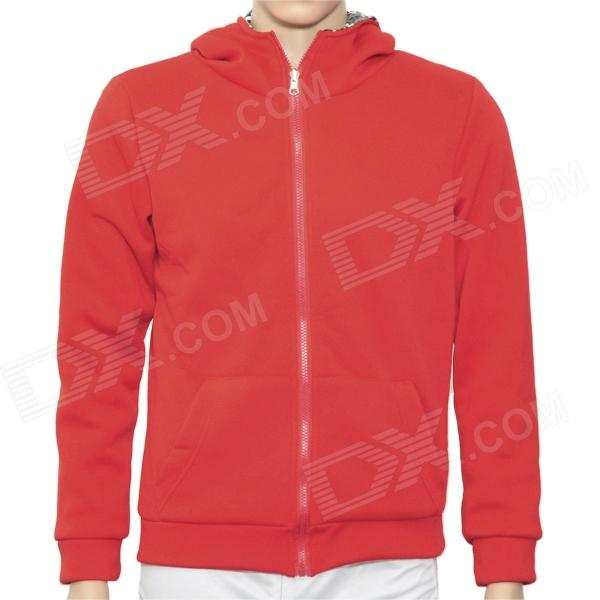 H·D·W 002134 Cool Man's Cotton Two-Side Warmer Coat w/ Hat + Zipper - Red (Size M)