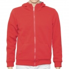 H?D?W 002134 Cool Man's Cotton Two-Side Warmer Coat w/ Hat + Zipper - Red (Size M)