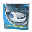 "2.3"" LCD Digital Display Blue Backlight UBS Cup Pad Warmer w/ Calendar - White + Black"