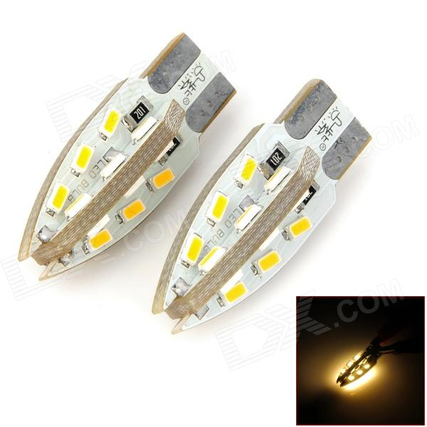 PointPurple F924WN T10 2.4W 220lm 24-SMD 3014 LED Warm White Light Car Lamps - White (DC 12V / Pair) pointpurple d