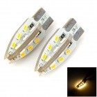 PointPurple F924WN T10 2.4W 220lm 24-SMD 3014 LED Warm White Light Car Lamps - White (DC 12V / Pair)