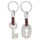 SALY Key + Keyhole Style Keychain Set for Couple - Silver + Brown (2 PCS)