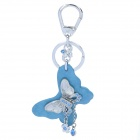 SALY SALY-3017 Butterfly Style Zinc Alloy + Rhinestone Decoration Keychain - Blue + Silver