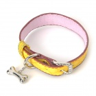 PU Adjustable Pet Dog Collar Leash - Yellow + Brown (Size S)