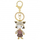 SALY-43134 Cute Shining Rhinestone Girl Zinc Alloy Keychain - Golden + Purple + White
