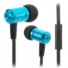 ES100i Flat In-Ear Earphones w/ Mic for Iphone / Ipad - Black + Blue (130cm-Cable / 3.5mm Plug)