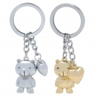 SALY Cute Bear with Love Heart Style Zinc Alloy Keychains - Golden + Silver (Pair)