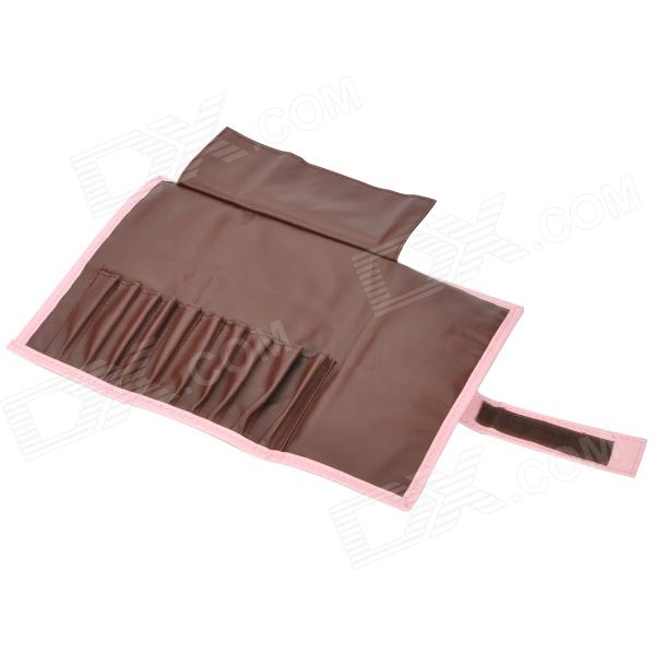 EMILY Portable Profession Cosmetic 10-Makeup Brushes Bag - Coffee + Pink