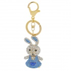 SALY-43135 Cute Shining Rhinestone Rabbit Zinc Alloy Keychain - Golden + Blue + White