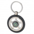 SALY-5311 Tyre Style with Compass Zinc Alloy Keychain - Silver + Black