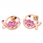 MaDouGongZhu R059-2 Cute Fish Style Ear Studs - Golden + Deep Pink (Pair)