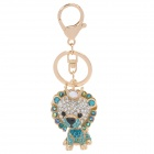 SALY-43127 Cute Shining Rhinestone Lion King Zinc Alloy Keychain - Golden + White + Blue