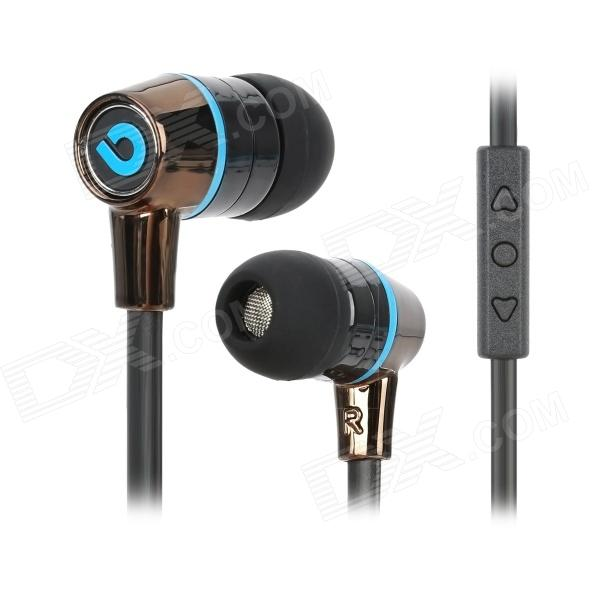 купить BIDENUO G360 Stylish In-Ear Earphones w/ Microphone - Blue + Black (3.5mm Plug / 127cm) недорого