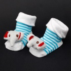 Cute Elephant Style Baby Non-Slip Socks - White + Blue (1 Pair)