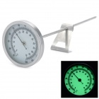 Stainless Steel Glow-in-the-Dark Analog Thermometer for Darkroom - Silver (0~70'C / Size L)
