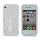 KX-KIND-A-2 Protective Hollow Out Spider Pattern TPU Back Case for iPhone 4 / 4S - White