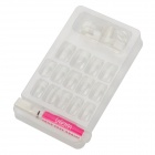 ZX-1208 Nail Art Decorative Fake False Nail Tips w/ Mucilage Glue - Transparent + White (24 PCS)