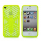 KX-KIND-B-3 Protective Hollow Out Spider Pattern TPU Back Case for iPhone 4 / 4S -Fluorescent Yellow