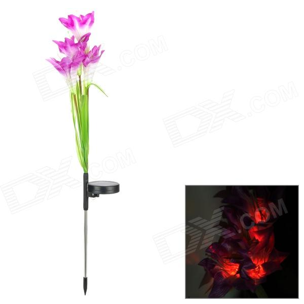FK-0003 Solar Power 5-LED Light Lilium Flower - Purple + Green