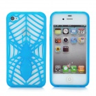 KX-KIND-B-2 Protective Hollow Out Spider Pattern TPU Back Case for iPhone 4 / 4S - Blue