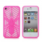 KX-KIND-B-4 Protective Hollow Out Spider Pattern TPU Back Case for iPhone 4 / 4S - Fluorescence Red