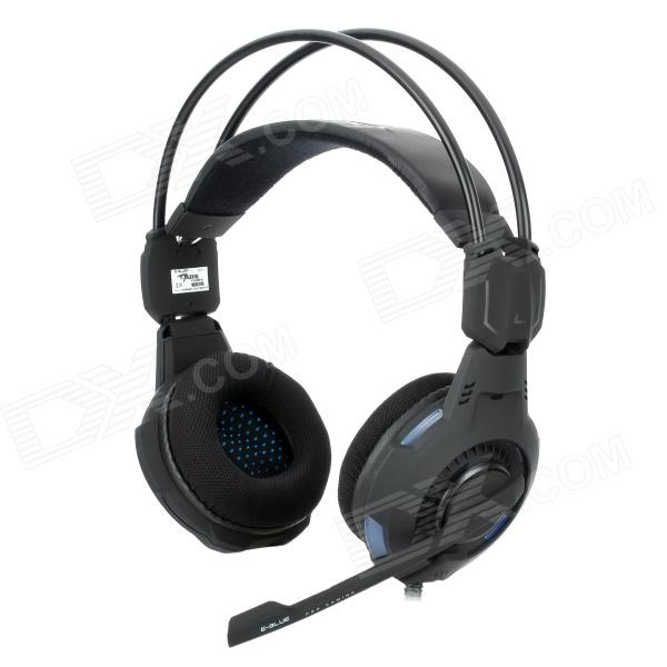 E-3LUE HS909 Mazer Stylish Headphones w/ Microphone / LED - Black + Blue (3.5mm Plug / 280cm) 2017 gaming headsets headphone beautiful gift high quality e 3lue cobra h937 blue light with microphone razer game kxl0329