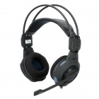 E-3LUE HS909 Stylish Headphones w/ Microphone / LED - Black + Blue (3.5mm Plug / 280cm)