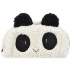 Cute Panda Style Cotton Velvet Storage Bag Pouch - White + Black