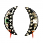 DIY Motorcycle Crescent Shape Interspersed Stars 9-LED RGB Light Decoration Lamp - Black + Red