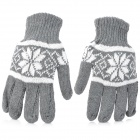 Men&#039;s Fashion Knitting Wool Gloves - Grey + White (Pair)