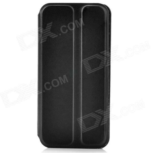 Build- in Suction Cup Protective PU Leather Flip-Open Case for Iphone 5 - Black