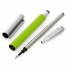 2-in-1 Capacitive Touch Screen Stylus Pen + Rollerball Pen for iPhone 5 / iPad - Silver + Green