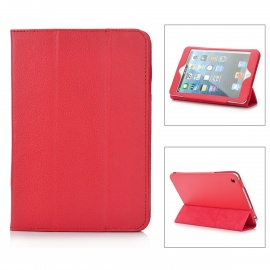 3-Folding Protective PU Leather Case w/ Stand for Ipad MINI - Red