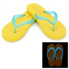 Glow-in-the-Dark Beach Flip Flops Slippers - Yellow + Blue (Size 42 / Pair)