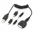 LX-05 5-in-1 Retractable USB Charging Cable for iPhone / iPad / Samsung + More - Black