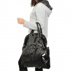 Multi-Purpose Fashion PU Leather Hand Bag / Shoulder Bag / Backpack - Black