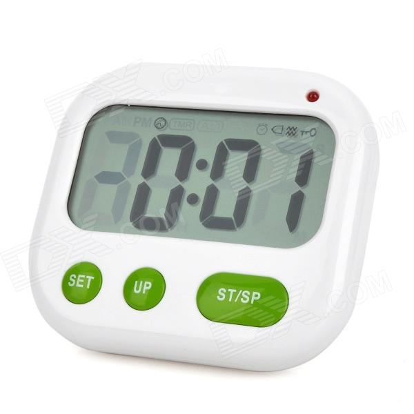 "2.8"" LCD Digital Display Blue Backlight Clock w/ Timer / Alarm / AM / PM - White + Green (2 x AAA)"