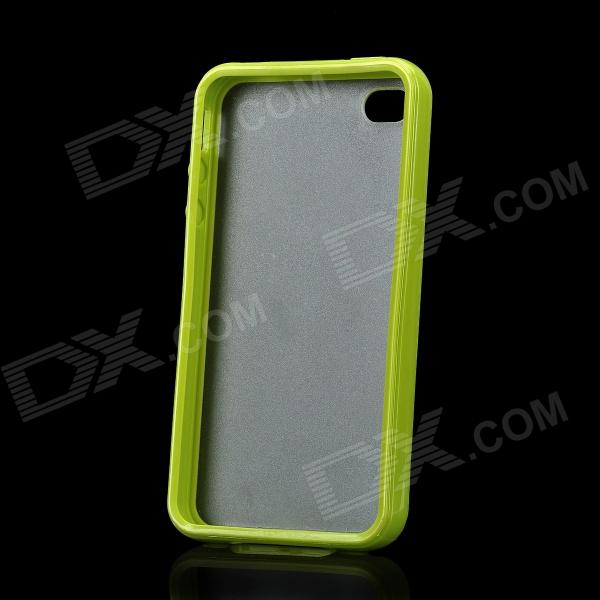Protective Simple Style Plastic Back Case for Iphone 4 / 4S - Green + Transparent stylish bubble pattern protective silicone abs back case front frame case for iphone 4 4s