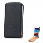 Protective Flip-Open PU Leather Case for Samsung Galaxy Note II N7100 - Black