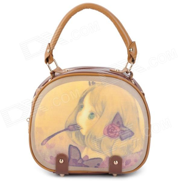 Cartoon Lovely Girl Pattern Fashion PU Leather Shoulder Bag - Brown + Yellow 2018 cute deer 3 pcs set women backpack female school bags backpacks for teenage girls shoulder bag fashion pu leather backpack