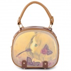 Cartoon Lovely Girl Pattern Fashion PU Leather Shoulder Bag - Brown + Yellow