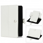 "Protective Rotational PU Case + Stylus Pen for 9"" Tablet - White"
