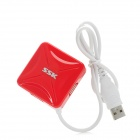 SSK SHU027 Square 480Mbps 4-Port USB 2.0 Hub - White + Red (50cm-Cable)