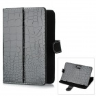 "Crocodile Skin Pattern Fashion Flip-Open PU Case for 7"" Tablet - Black"
