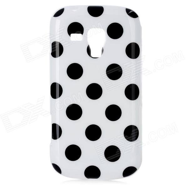Protective Polka Dot Pattern TPU Back Case for Samsung Galaxy S Duos S7562 - White + Black