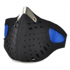 Mesh-Shaped Polyester Cotton Protective Half Face Mask w / Magic Tape - Schwarz + Blau