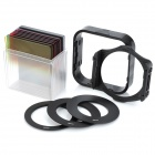 10-in-1 Gradient Yellow / Green / Red Filters w/ Lens Adapter / Hood / Support - Black (10 PCS)
