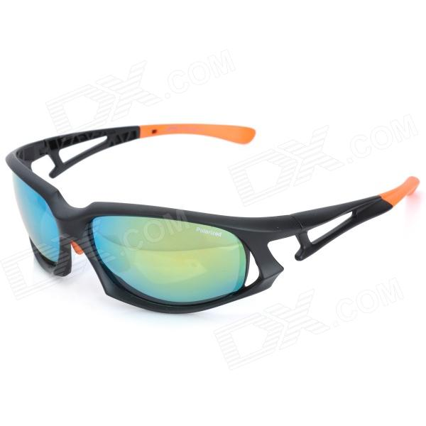 CARSHIRO JL001 Sports UV400 Protection Resin Lens Polarized Sunglasses - Black + Orange clip on uv400 protection resin lens attachment sunglasses small